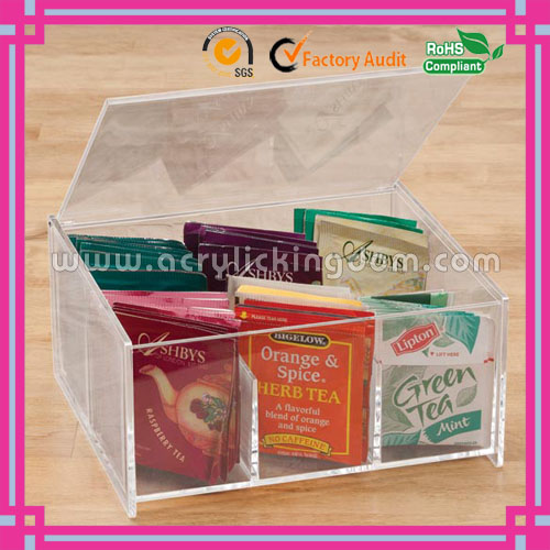 clear 6 compartment custom acrylic tea bag box with lid manufacturer