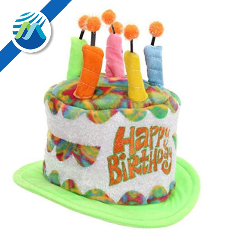 Blue Plush Birthday Cake Hat with 6 Mock Candles Novelty Party Dress Up Accessor