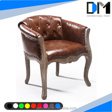classial antique design wood dining chair wood , leather furniture