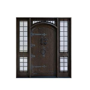 House building material gold supplier Solid Wood Doors with Glass and Iron wood doors designs