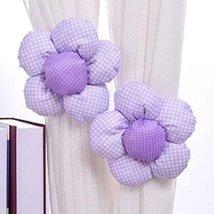 Lovely Flower Curtain Tiebacks / Holdbacks, Pink, Purple, Green, Blue, Watermelon and White (Purple)