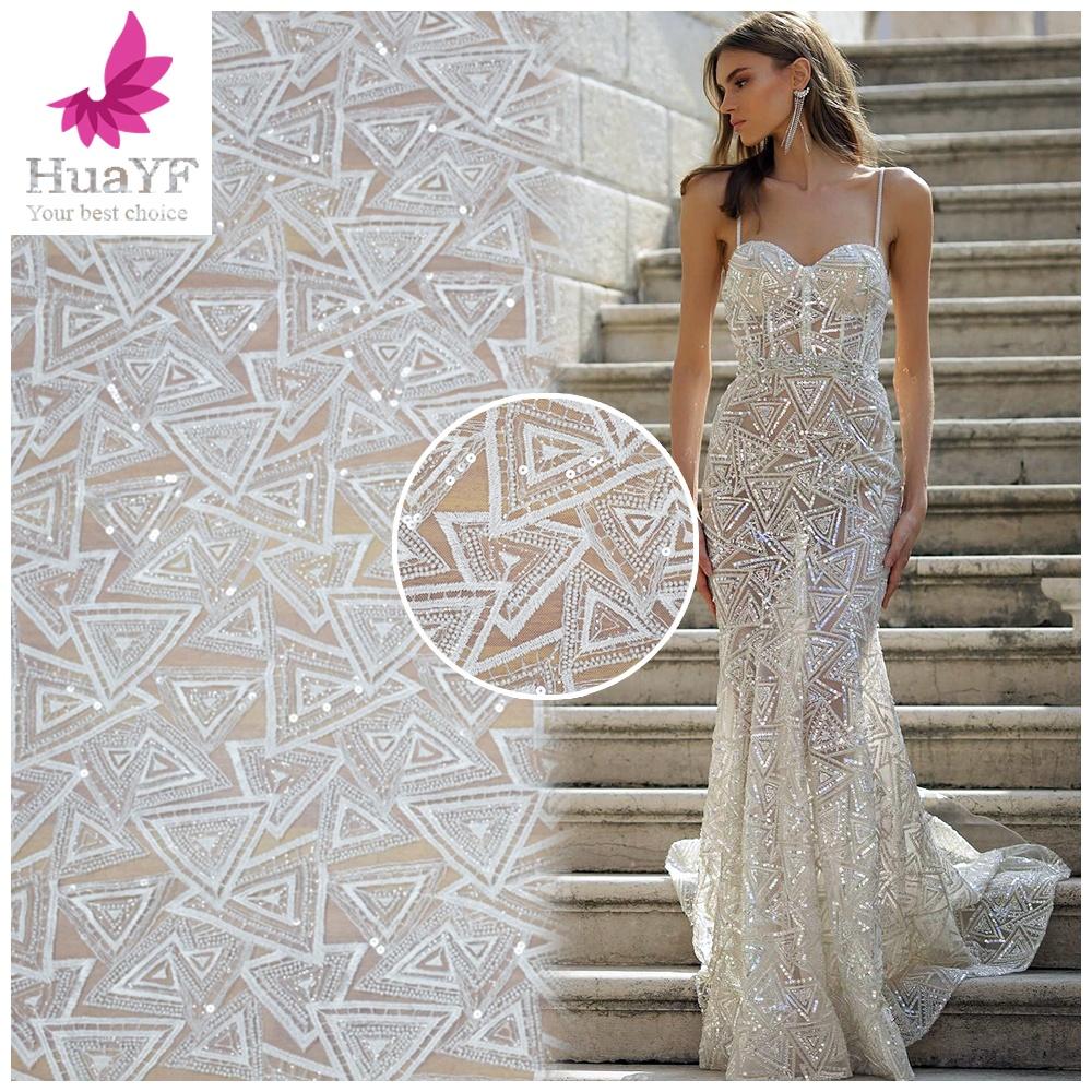 Gading Bridal Payet Bordir Manik-manik Tulle Bahasa Perancis Pernikahan Renda Bahan Kain HY0346