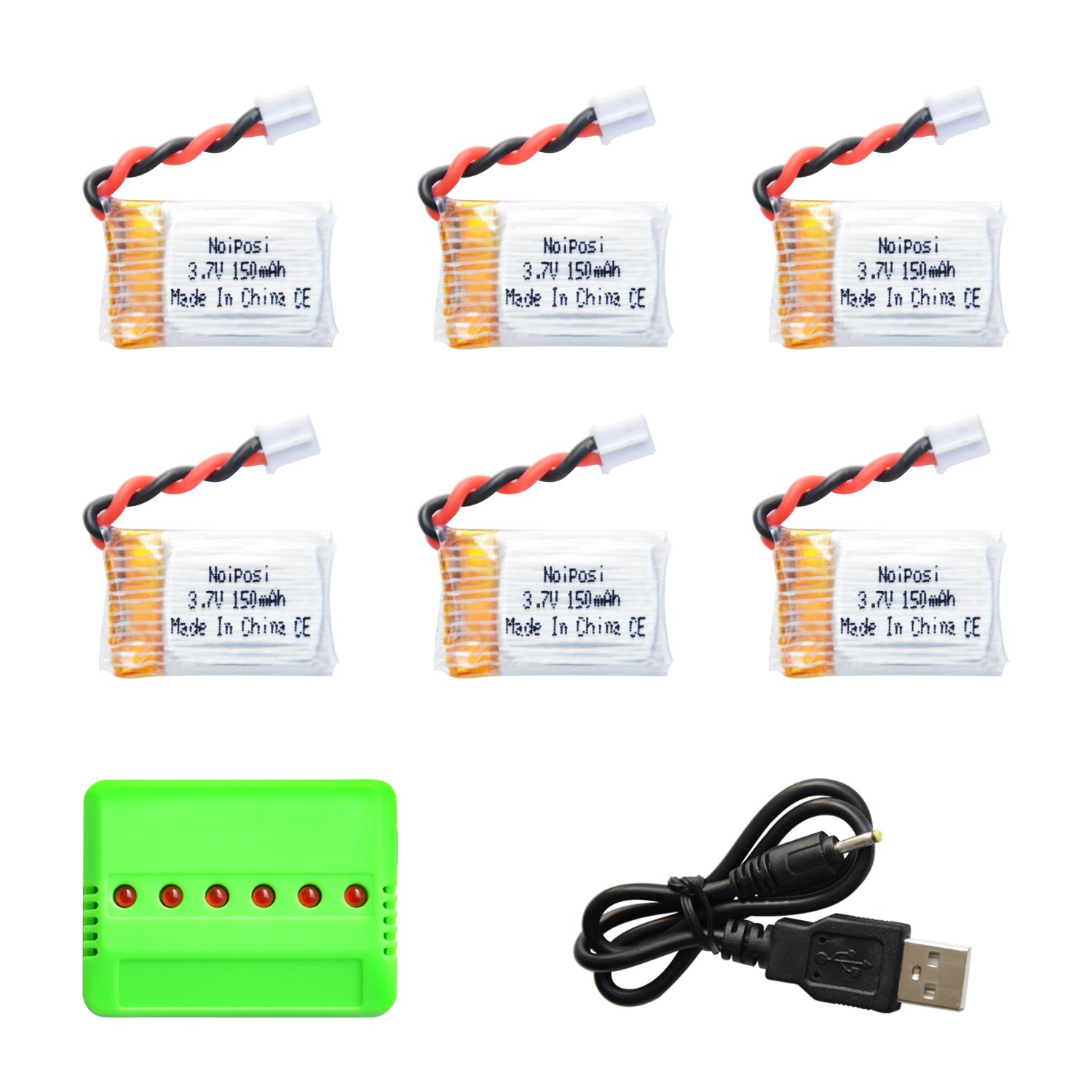 Cheap Fiamm Battery 150 Find Deals On Line At 12 Volt Horn Wiring Diagram Product Get Quotations Noiposi 6pcs Upgraded 37v 150mah With X6 Charger Conversion Cable For Jjrc H36 Eachine