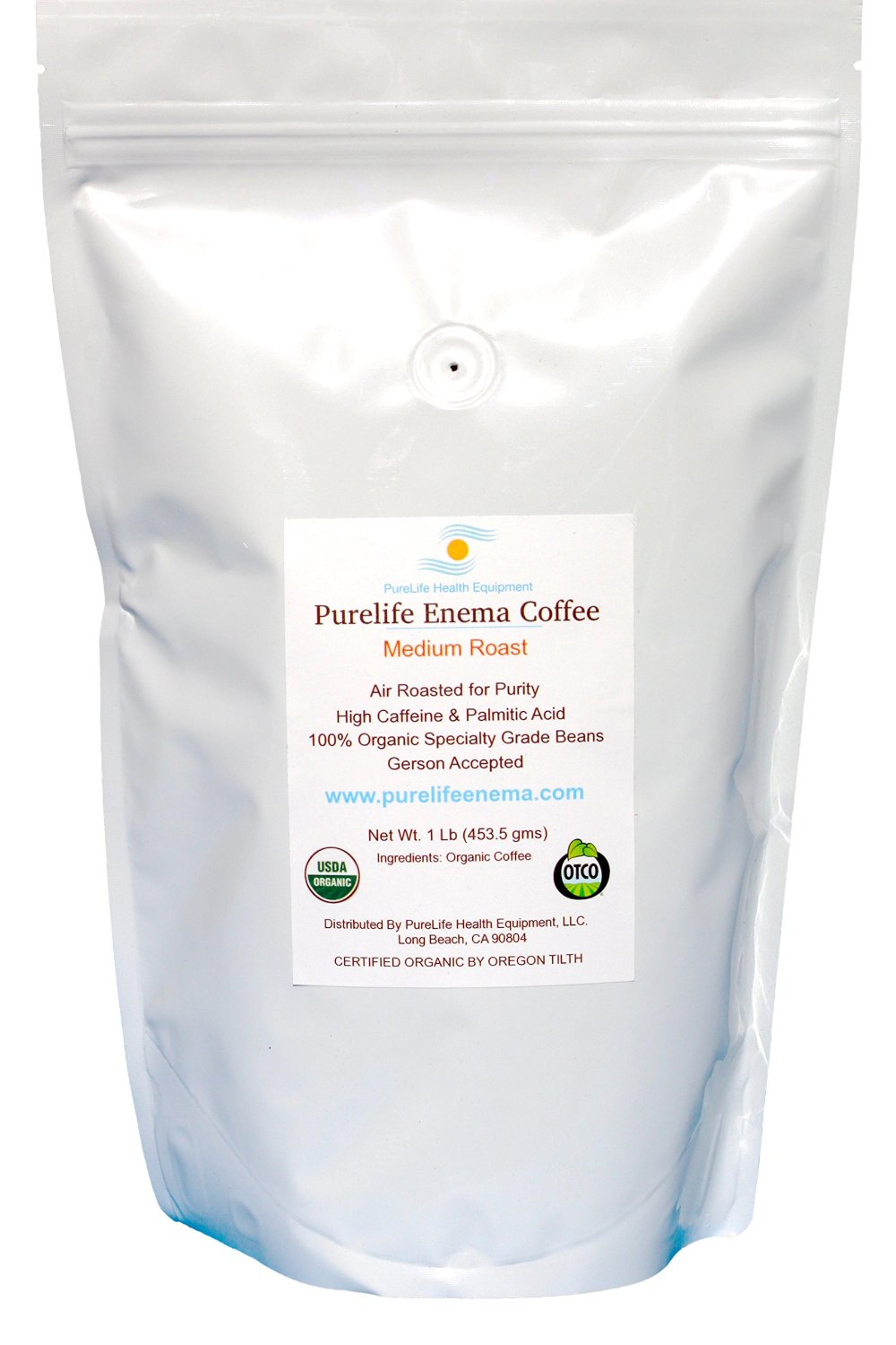 PureLife Enema Coffee- 1 Lb - Organic Gerson Specific - Air Roasted Medium