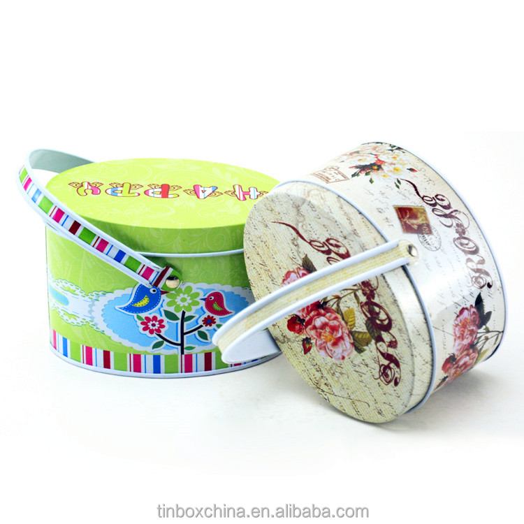 particular oval shape with handle metal tin box for gift package