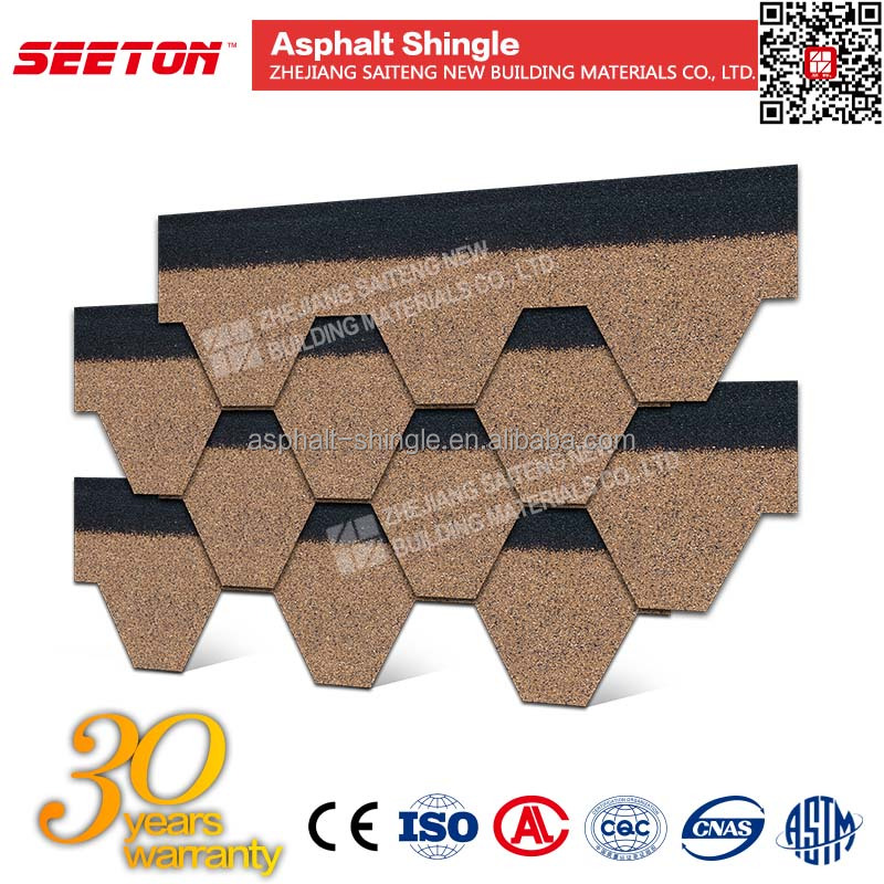 Desert Tan hexagon mosaic asphalt roofing shingle