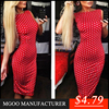 MGOO Top Custom Design Wholesale White Dots Bodycon Dress Red Shealth Long Dress Fashion Party Mini Dresses 00464