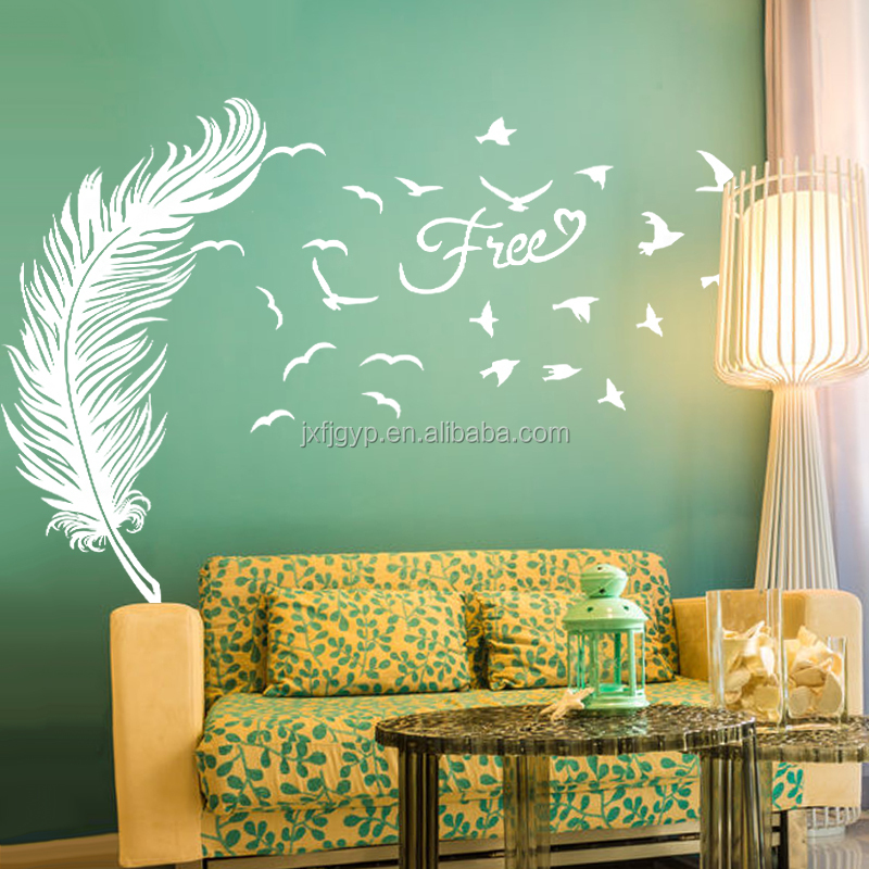 Romantic magic art feather shape free sticker wall decals for home deocr