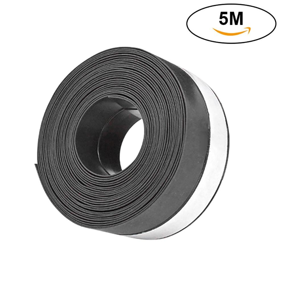 niceeshop Weather Stripping, (TM) 5M/16.40Ft Long Silicone Draft Stopper Self Adhesive Soundproof Anti-collision Seal Strip Bottom for Sliding Frameless Door and Window (45mm/1.77inch, Black)