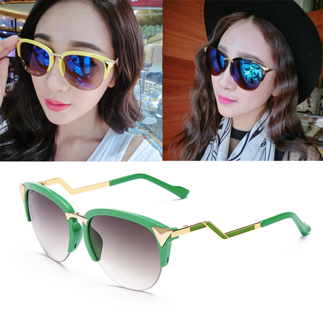 4492dd9d23 Get Quotations · New vogue Cat eye Sunglasses women brand designer twist  curve Summer points sun glasses Party shades