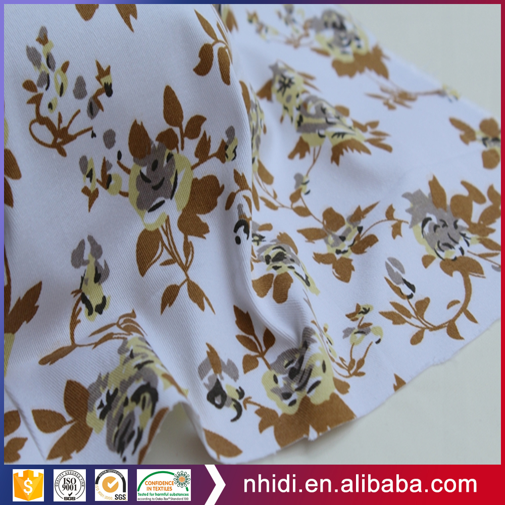 Proveedor China 97% Cotton 3% Lycra Printed Stretch Twill Fabric for Pants