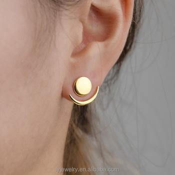 e2d079323 fancy stud earring ,moon and sun sterling silver jacket earrings set  ,plated gold geometric