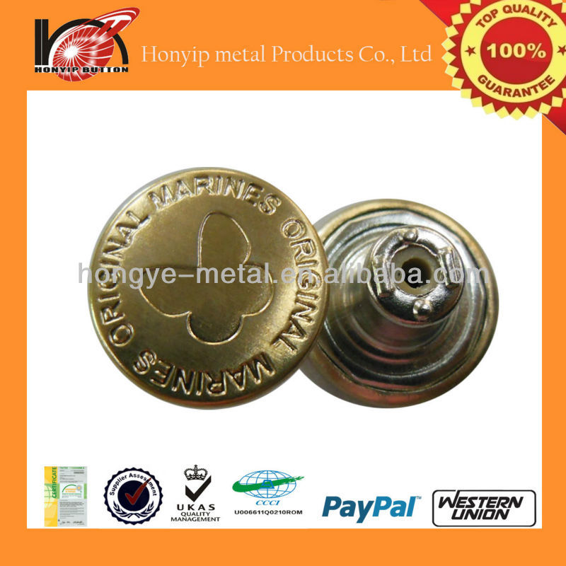 bulk 10mm shiny gold metal button manufacturer