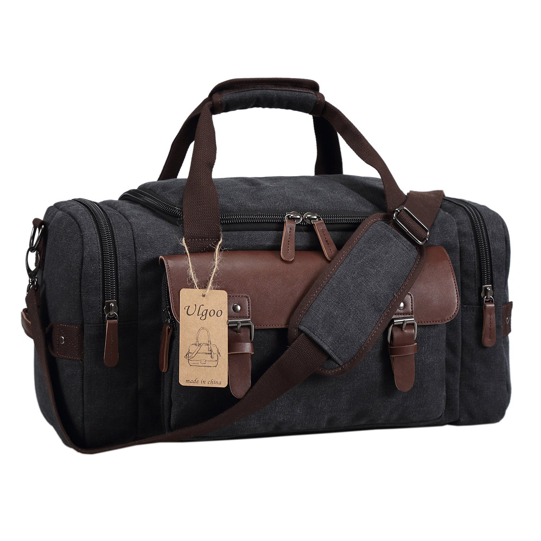 Ulgoo Canvas Leather Weekender/Overnight Travel Duffel Bag