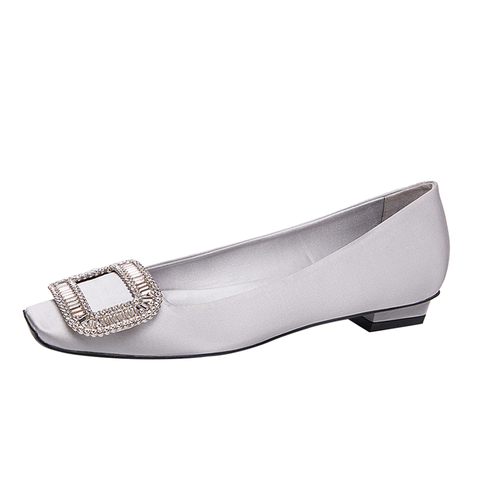 Toe Dress For Comfortable Casual Flats Low Shoes Square Women Heel Silk Rhinestone Luxury With Shoes Real IBxqw6qz