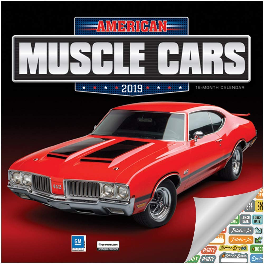 American Muscle Cars Calendar 2019 Set - Deluxe 2019 American Muscle Cars Mini Calendar with Over 100 Calendar Stickers (American Muscle Cars Gifts, Office Supplies)