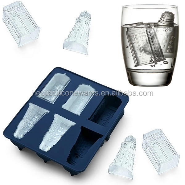 FDA food grade who doctor Tardis and Daleks wholesale bpa free ice block silicone moulds