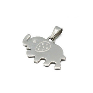 Cute Baby Silver Jewellery Elephant Crystal Stainless Steel Elephant Neck Pendant