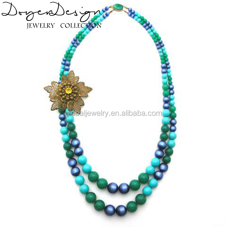 Turquoise beaded flower jewelry