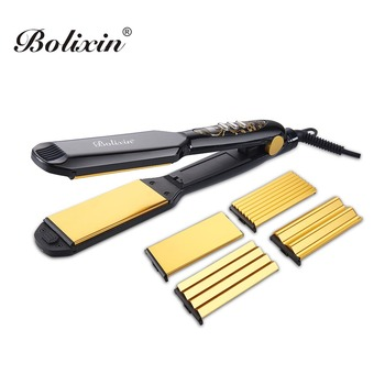 Curve plate design flat iron hair crimper with changeable plates