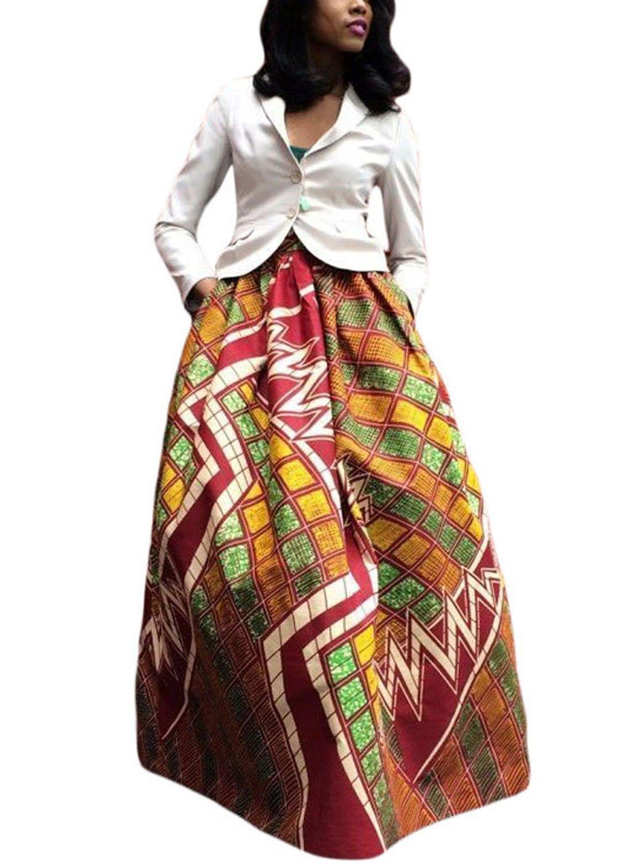 e2660fa845 Get Quotations · roswear Women's African Print A-Line Maxi Skirt Flared  Skirt