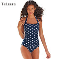 2016 Sexy One Piece Swimsuit Polka Dot Plus Size Swimwear Women Push Up Monokini Retro Bathing