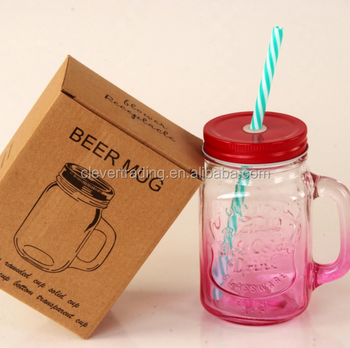 Pink Color16oz Glass Mason Jar With Decorative Stainless Steel Lids