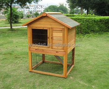 Classic Wooden Rabbit Hutch With Run, Asphalt Roof rabbit cages