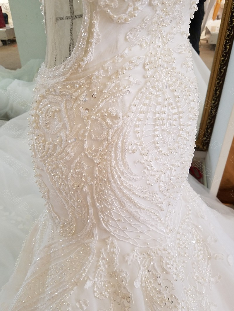 LS17006 Sexy mermaid wedding dress see through back cap sleeves tulle lace wedding gowns 2017 robe de mariee sirene 16
