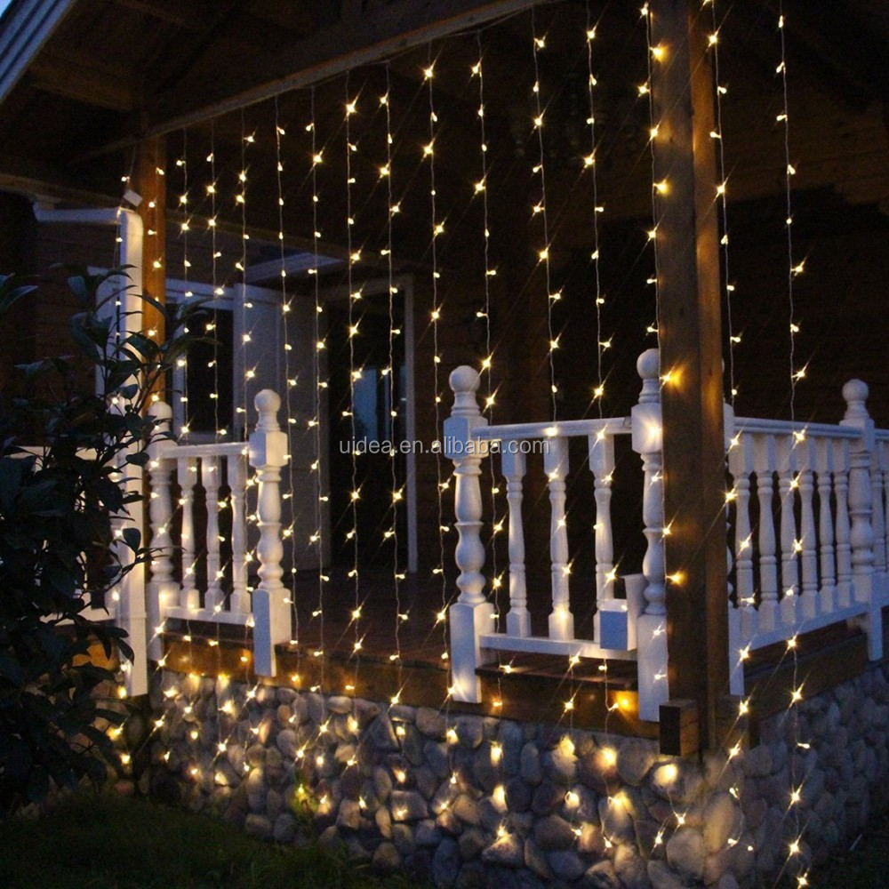 3x3 Meters Warm White Color Window Curtain String Lights With 8 Modes/  Curtain Fairy String