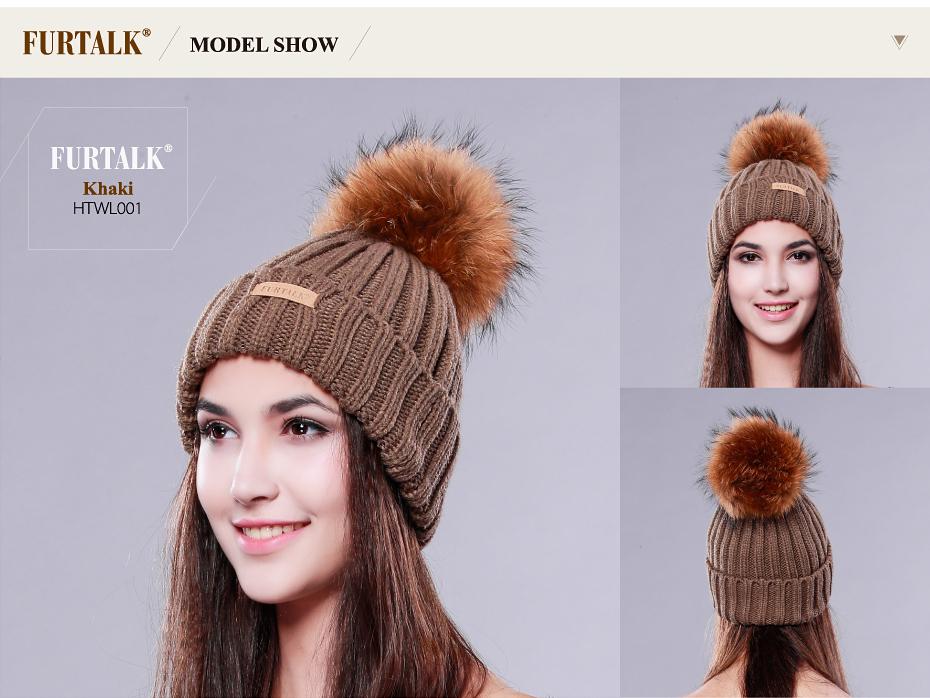 Wholesale Furtalk Knitted Real Fur Hat 100% Real Raccoon Fur Pom Pom ... 0b5f0e34bb8