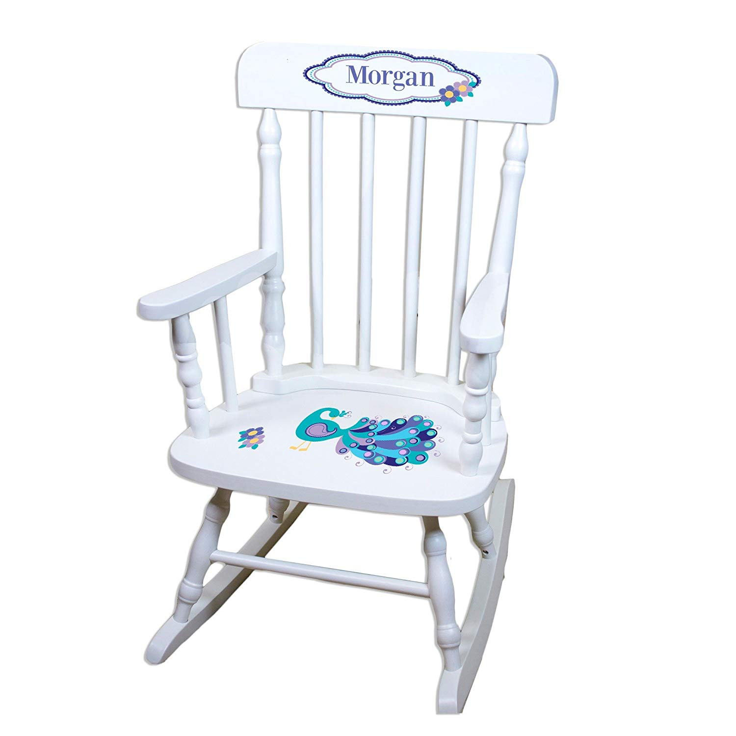MyBambino Personalized Peacock White Wooden Childrens Rocking Chair