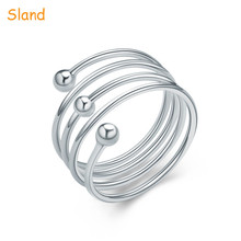custom bulk sale sterling silver multi-winding ring adjustable free size opening 925 Separable Ring with ball