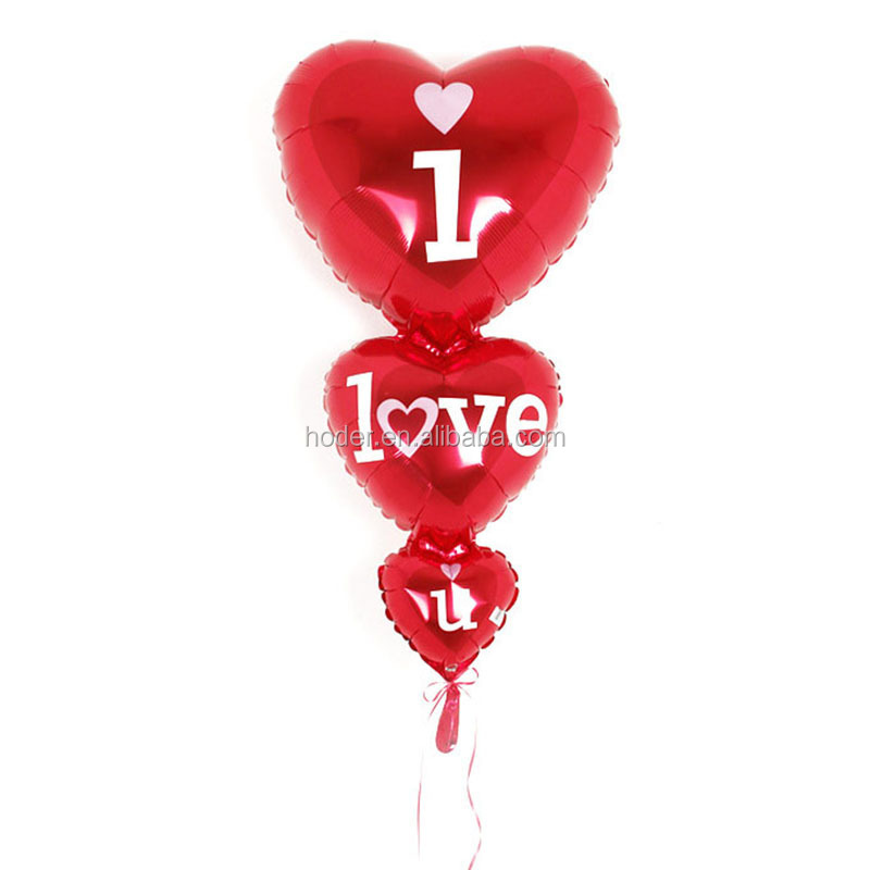 New design three heart shaped ballon helium mylar balloons string heart foil balloon