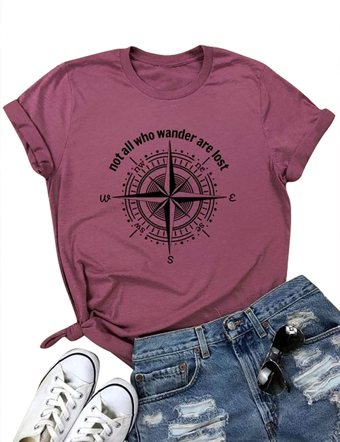 Nlife Women Summer Not All who Wander are Lost Letter Print Top Solid Color Round Neck Short Rolled Sleeve T-Shirt