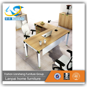 Modern Design Aluminum L-Shaped MDF Executive office desk KD-01