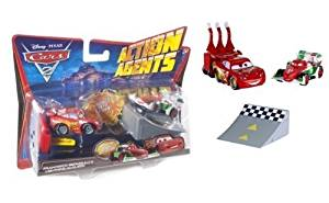 Mattel-Disney Pixar Cars 2 Action Agents Francesco Bernoulli & Lightning Mcqueen Veh