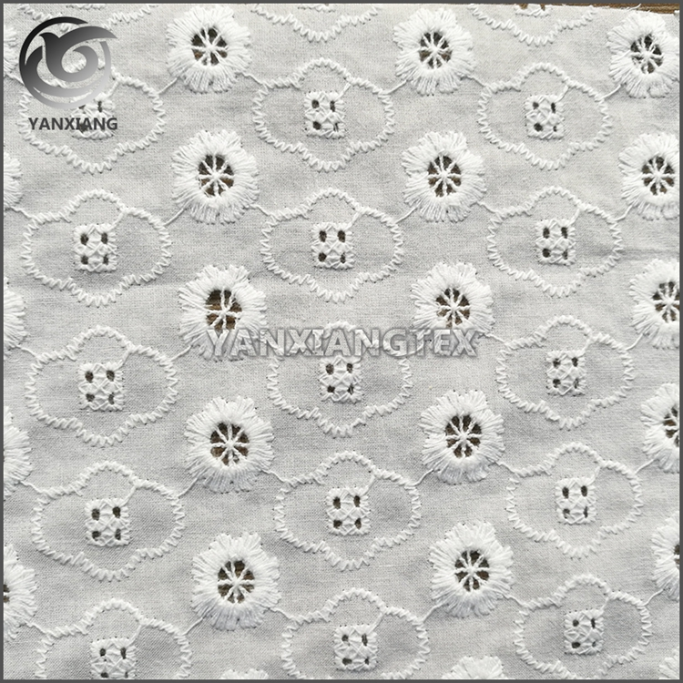 2017 new arrivals ankara textile cotton eyelet embroidery lace fabric for women wear