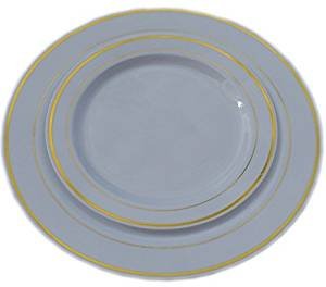 Get Quotations · 40 PIECE / 20 guest Wedding Disposable Dinner u0026 Dessert Plastic Plates White u0026 Gold Trim  sc 1 st  Alibaba & Cheap White Plastic Plates Wedding find White Plastic Plates ...