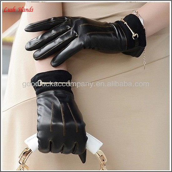 wholesale Fashion women Leather Gloves with golden chain