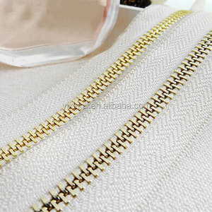 [Gold Zipper] 5# Bleach White Metal Zipper Gold Look, Long Chain