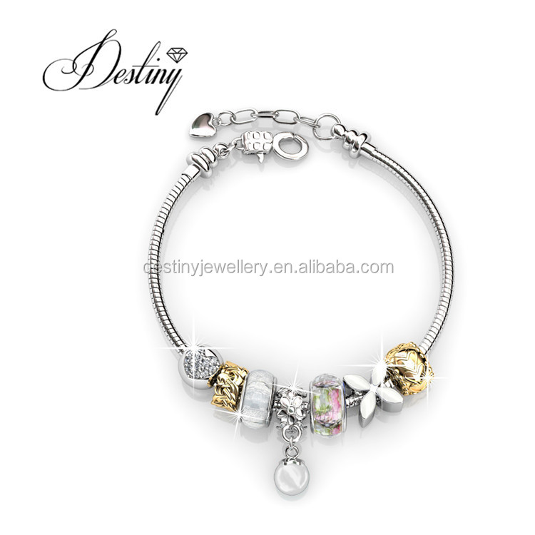 Destiny Jewellery Pearl Charm Bracelet with crystals from Swarovski