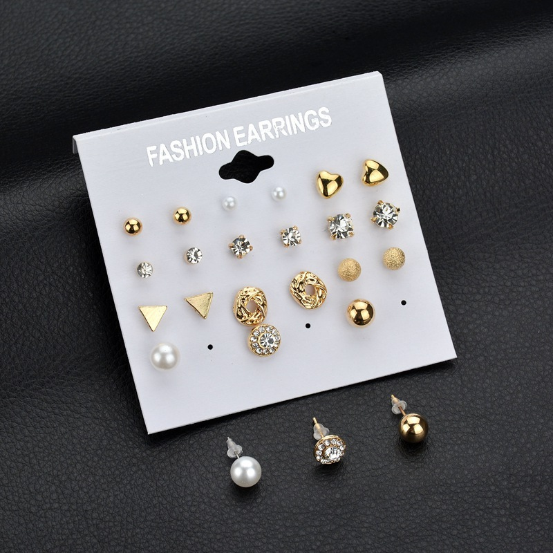 12 Pairs/Set Assorted Multiple Girls Crystal Zircon Pearl <strong>Earrings</strong> For Women