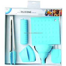 8 stücke home use durable hitzebeständige <span class=keywords><strong>silikon</strong></span> utensil set mit topflappen & trichter
