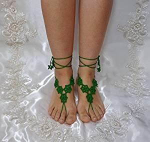 Green Wedding Sandals,Wedding Accessory,Sexy Beach Sandals, Crochet Barefoot Sandals, Barefoot Sandals , Crochet Anklet, Sexy Lace Sandals,Beach,Wedding Footwear, Bridesmaid Sandals (Green-03)