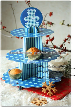 3 tier cup cake stand disposable child birthday party bear