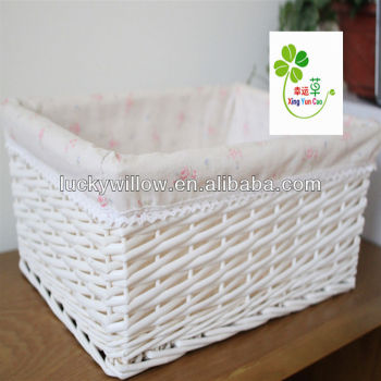 White Square Wicker Basket With Liner