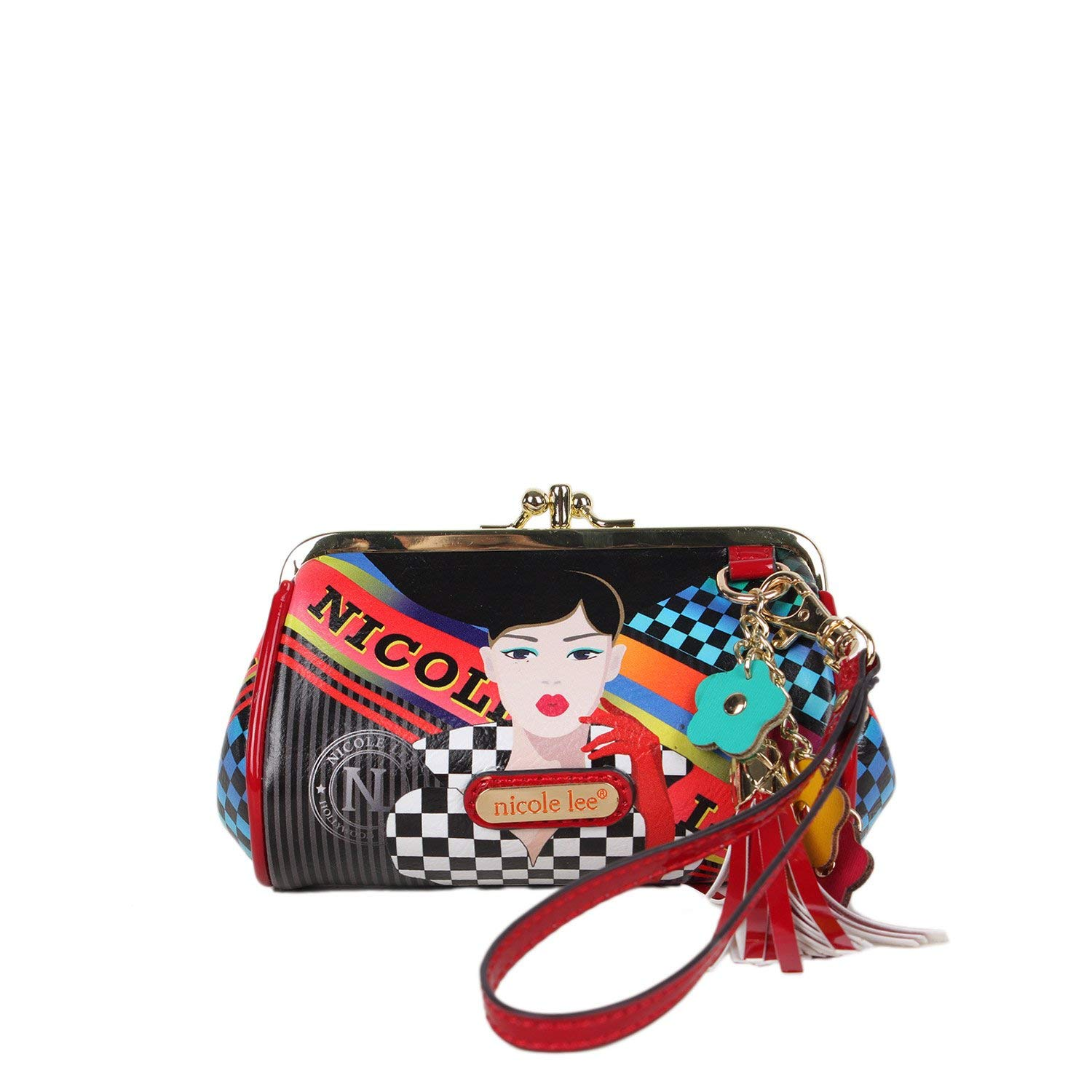 3882dc249e Get Quotations · Printed Coin Purse with Kiss-lock Closure and Floral  Tassel Wristlet Mini Bag