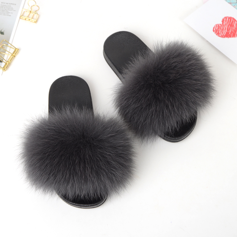 Latest design real fox fur <strong>slippers</strong> women <strong>slipper</strong>