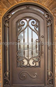 Med Copper Full Round Top Wrought Iron Single Door With Sidelight  (SEN GS009)